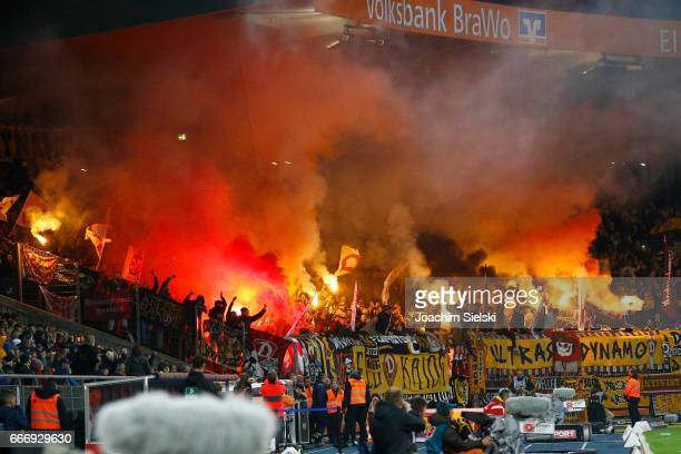 The Fans of Dresden during the Second Bundesliga match between Eintracht Braunschweig and SG Dynamo Dresden at Eintracht Stadion on April 10 2017 in...