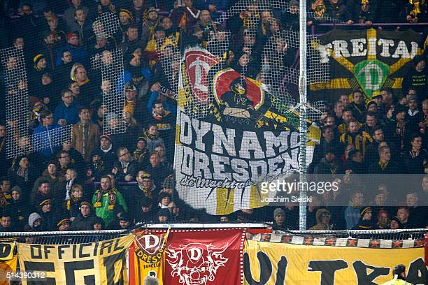 The Fans of Dresden during the third league match between VfL Osnabrueck and Dynamo Dresden at Osnatel Arena on March 2 2016 in Osnabrueck Germany
