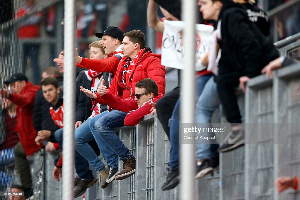 The fans of Duesselorf show their frustrationa after the 2. Bundesliga match between MSV Duisburg and Fortuna Duesseldorf at Schauinsland-Reisen-Arena on April 29, 2016 in Duisburg, Germany. The match between Duisburg and Duesseldorf ended 2-1.
