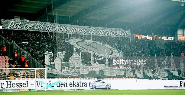 The fans of FC Copenhagen show a tifo prior to the Danish Alka Superliga match between FC Midtjylland and FC Copenhagen at MCH Arena on March 3 2016...