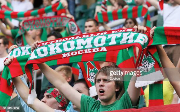 The fans of FC Lokomotiv Moscow during the Russian Premier League match between FC Lokomotiv Moscow and FC Tosno at Lokomotiv stadium on August 13...