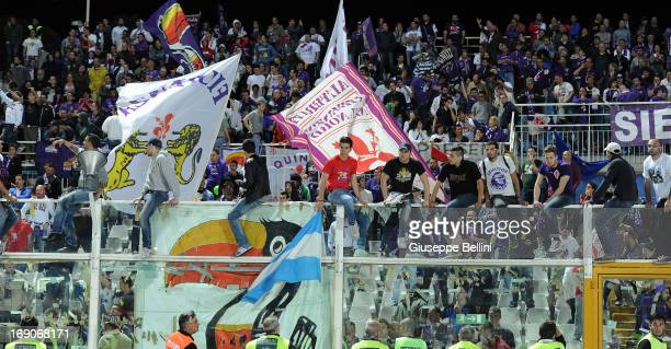 The fans of Fiorentina after the Serie A match between Pescara and ACF Fiorentina at Adriatico Stadium on May 19 2013 in Pescara Italy