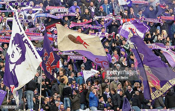 The fans of Fiorentina during the Serie A match between ACF Fiorentina and Pescara at Stadio Artemio Franchi on January 6 2013 in Florence Italy