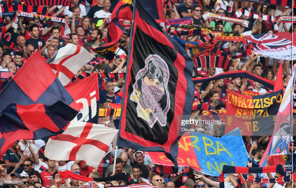 The fans of Genoa CFC in action prior to the Serie A match between Genoa CFC and Juventus at Stadio Luigi Ferraris on August 26, 2017 in Genoa, Italy.