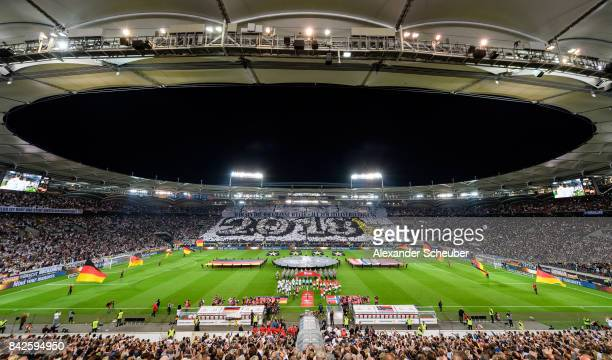 The fans of germany make a choreographie during the FIFA 2018 World Cup Qualifier between Germany and Norway at MercedesBenz Arena on September 4...