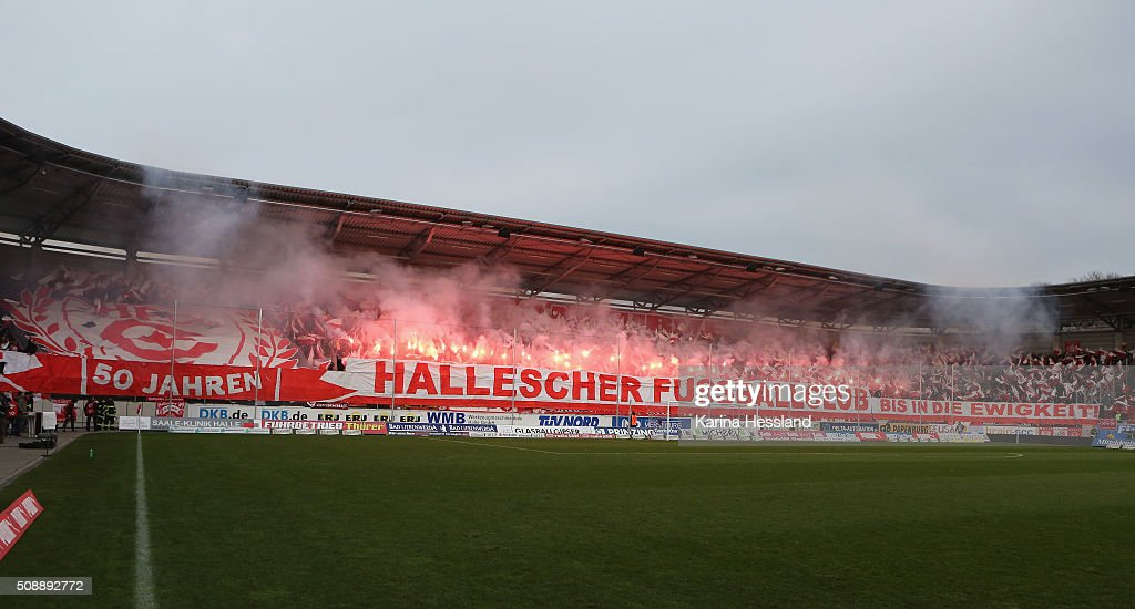 The fans of Halle celebrate the 50th birthday of the club prior to the Third League match between Hallescher FC and SG Dynamo Dresden at erdgas Sportpark on February 07, 2016 in Halle, Germany.