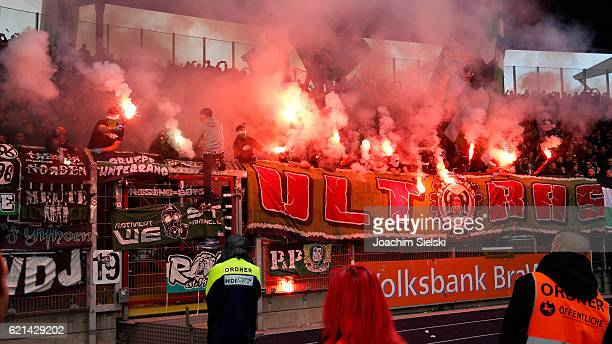 The Fans of Hannover during the Second Bundesliga match between Eintracht Braunschweig and Hannover 96 at Eintracht Stadion on November 6 2016 in...