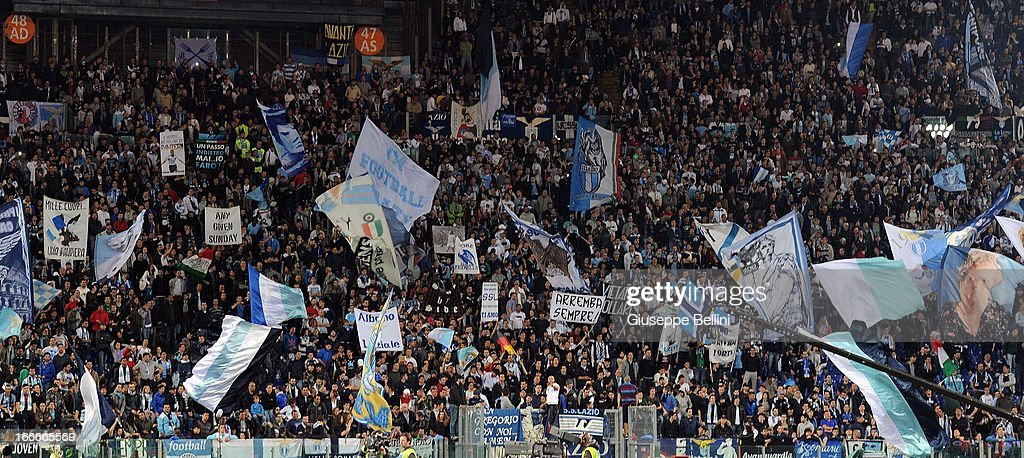 The fans of Lazio cheer during the Serie A match between S.S. Lazio and Juventus at Stadio Olimpico on April 15, 2013 in Rome, Italy.