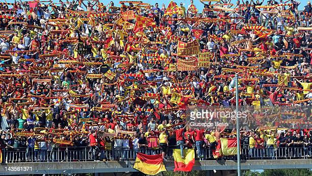 The fans of Lecce during the Serie A match between US Lecce and Parma FC at Stadio Via del Mare on April 29 2012 in Lecce Italy