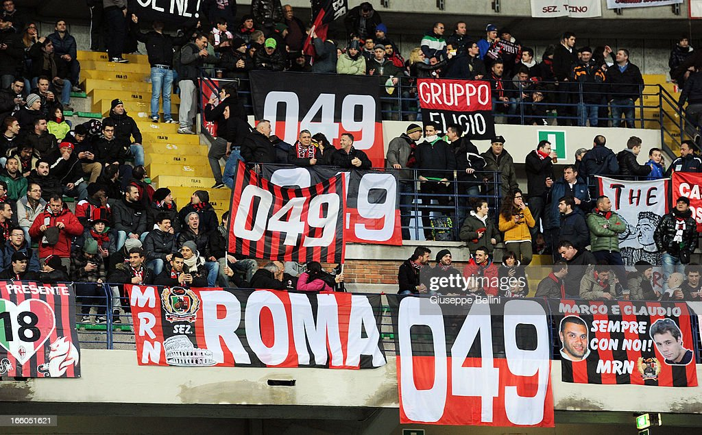 The fans of Milan during the Serie A match between AC Chievo Verona and AC Milan at Stadio Marc'Antonio Bentegodi on March 30, 2013 in Verona, Italy.