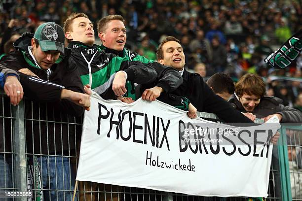 The fans of Moenchengladbach celebrate after the UEFA Europa League group C match between Borussia Moenchengladbach and AEL Limassol FC at Borussia...