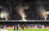 The fans of Napoli before the Serie A match between SSC Napoli and AC Milan at Stadio San Paolo on October 25 2010 in Naples Italy