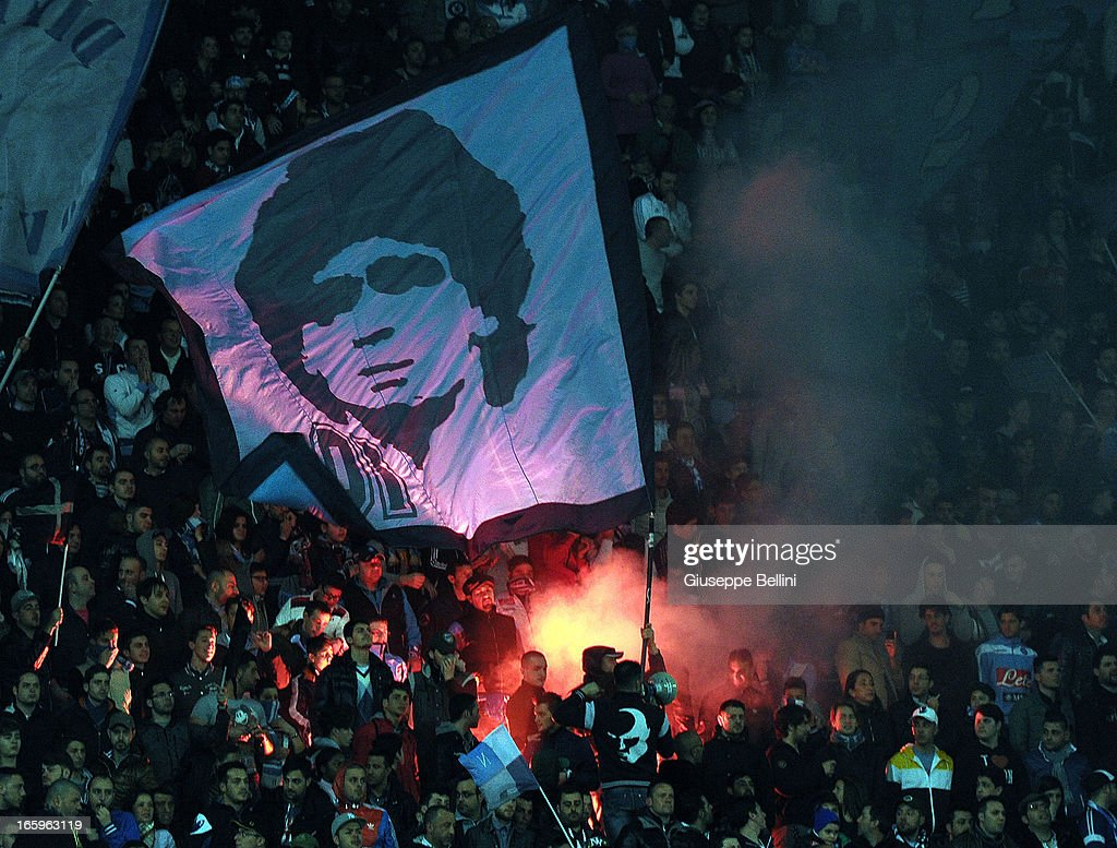 The fans of Napoli show their support during the Serie A match between SSC Napoli and Genoa CFC at Stadio San Paolo on April 7, 2013 in Naples, Italy.