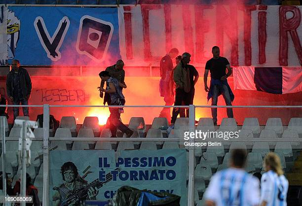 The fans of Pescara during the Serie A match between Pescara and ACF Fiorentina at Adriatico Stadium on May 19 2013 in Pescara Italy