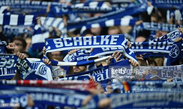 The fans of Schalke 04 celebrate prior to the Bundesliga match between FC Schalke 04 and FC Ingolstadt at VeltinsArena on October 31 2015 in...