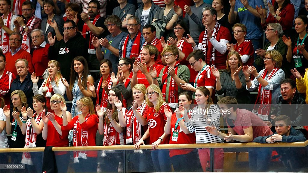 The Fans of Schwerte during the DFB Futsal Cup Final between Holzpfosten Schwerte and Hamburg Panthers at ENERVIE Arena on April 11 2015 in Hagen...