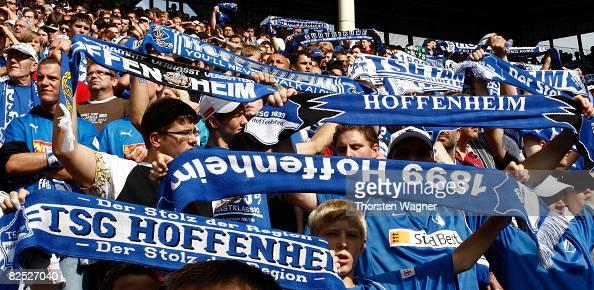 The Fans of TSG 1899 Hoffenheim celebrate after winning during the Bundesliga match TSG 1899 Hoffenheim against Borussia Moenchengladbach at the Carl...