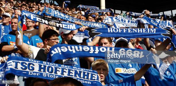 The Fans of TSG 1899 Hoffenheim celebrate after winning during the Bundesliga match TSG 1899 Hoffenheim against Borussia Moenchengladbach at the Carl...
