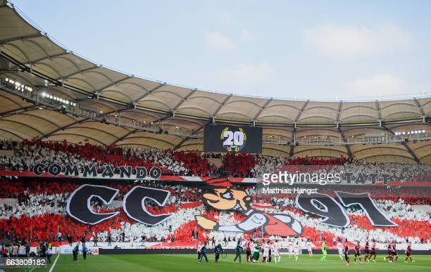 The fans of VfB Stuttgart perform a choreography celebrating the 20th birthday of Commando Cannstatt prior to the Second Bundesliga match between VfB...