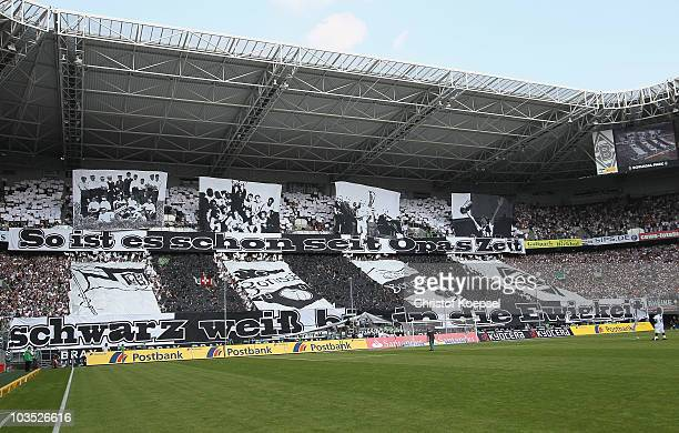 The fans show a choreographie during the Bundesliga match between Borussia Moenchengladbach and 1 FC Nuernberg at Borussia Park on August 21 2010 in...