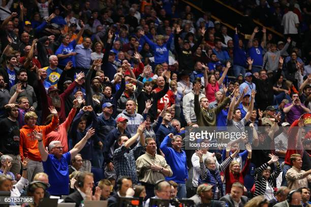 The fans were on their feet cheering during the SEC Basketball Tournament game between Mississippi State Bulldogs and the LSU Tigers on March 08 at...