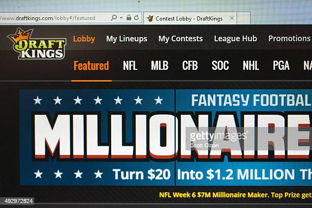 The fantasy sports website DraftKings is shown on October 16 2015 in Chicago Illinois DraftKings and its rival FanDuel have been under scrutiny after...