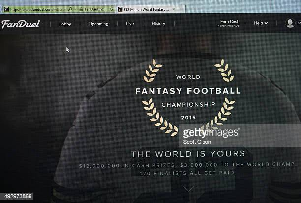 The fantasy sports website FanDuel is shown on October 16 2015 in Chicago Illinois FanDuel and its rival DraftKings have been under scrutiny after...