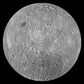 The Far Side of the Moon. The lunar farside orthographic projection centered at 180å¡ longitude, 0å¡ latitude. unlike the widespread maria on the nearside, basaltic volcanism was restricted to a relat