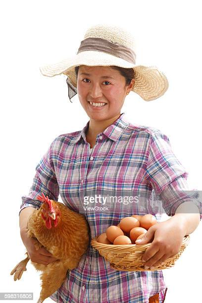 The farmer took a basket of eggs