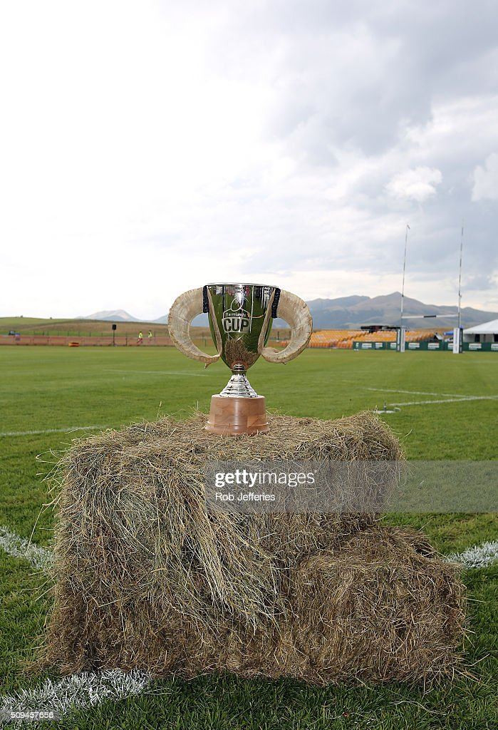 The Farmlands Cup which is up for grabs during the Super Rugby trial match between the Highlanders and the Crusaders at Fred Booth Park on February 11, 2016 in Waimumu, New Zealand.