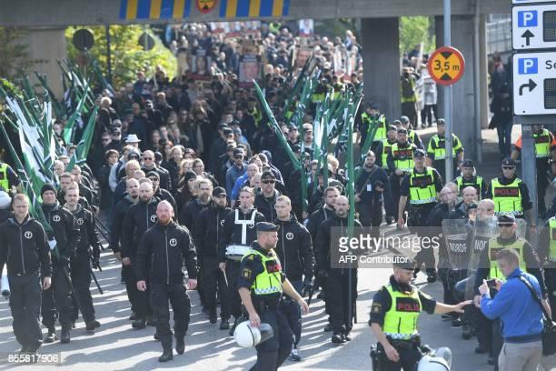 The farright Nordic Resistance Movement marches in Gothenburg Sweden on September 30 2017 News Agency / Fredrik SANDBERG / Sweden OUT