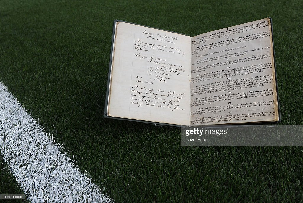 The FA's Minute book, the 1st ever football rule book at Emirates before the Barclays Premier League match between Arsenal and Manchester City at Emirates Stadium on January 13, 2013 in London, England.