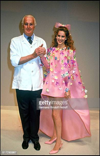 The fashion designer Hubert De Givenchy and daughter Haute Couture fashion show spring summer 1992 collection in Paris