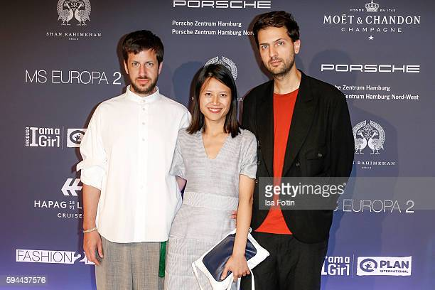 The fashion designers Michael Sontag Perret Schaad and Vladimir Karaleev attend the Fashion2Night event at EUROPA 2 on August 23 2016 in Hamburg...