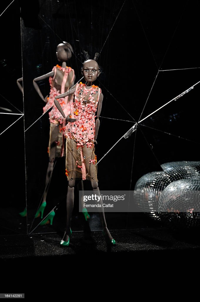 The fashion doll appears on the runway during FH by Fause Haten - Sao Paulo Fashion Week Summer 2013/2014 on March 20, 2013 in Sao Paulo, Brazil.