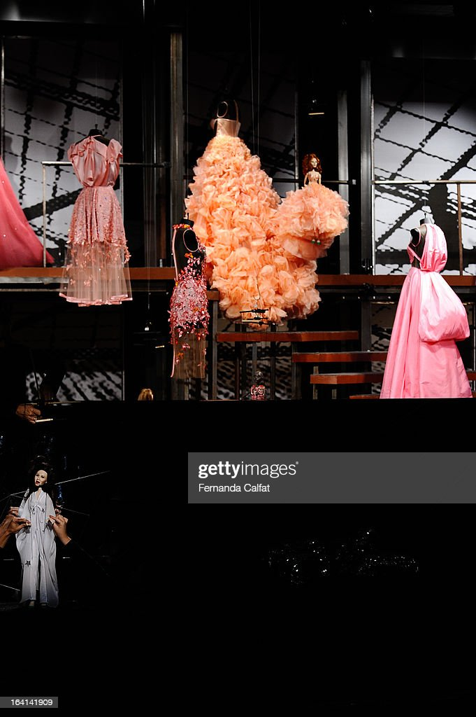 The fashion dolls appear on the runway during FH by Fause Haten - Sao Paulo Fashion Week Summer 2013/2014 on March 20, 2013 in Sao Paulo, Brazil.