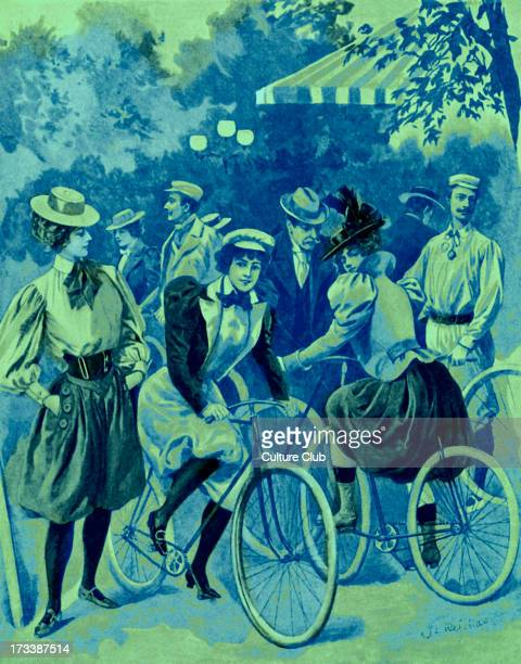 The Fashion for Bicycles in the Bois de Boulogne 1897 After Saint Rejchan Park on the outskirts of Paris