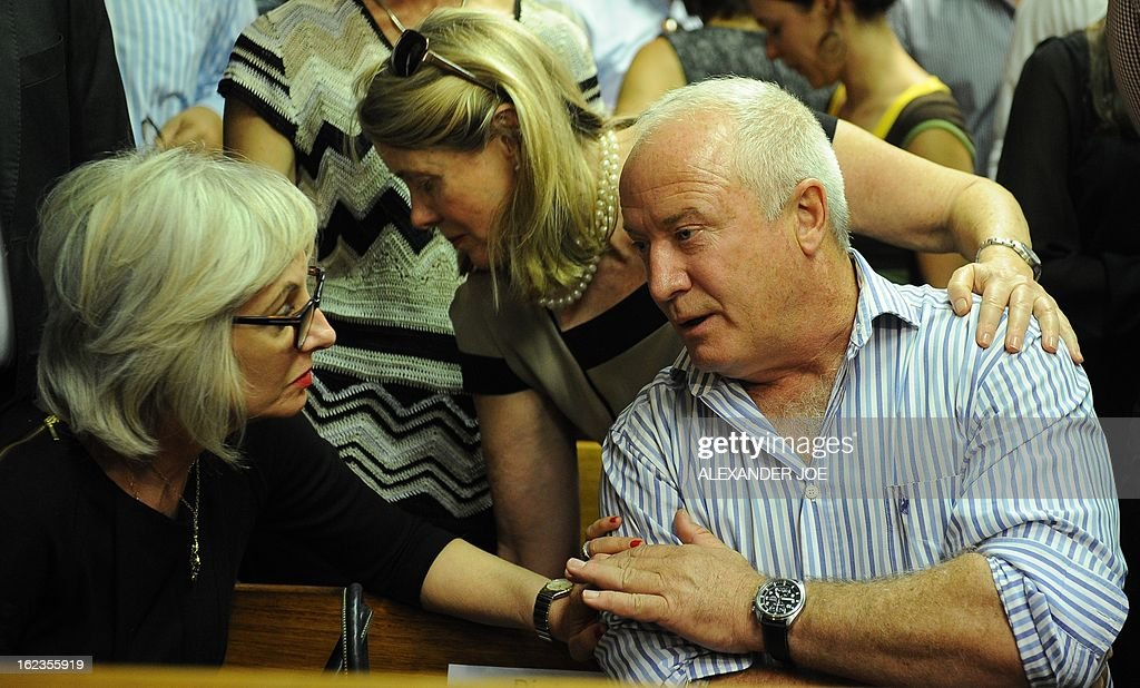 The father of South African Olympic sprinter Oscar Pistorius, Henke is pictured in the courthouse in Pretoria on February 22, 2013, after Oscar Pistorius was freed on bail by a magistrate, pending a high-profile trial for killing his girlfriend Reeva Steenkamp. AFP PHOTO / ALEXANDER JOE