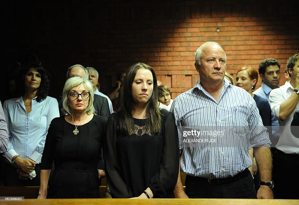 The father of South African Olympic sprinter Oscar Pistorius Henke and his sister Aimee attend an audience of Oscar Pistorius' bail hearing for...