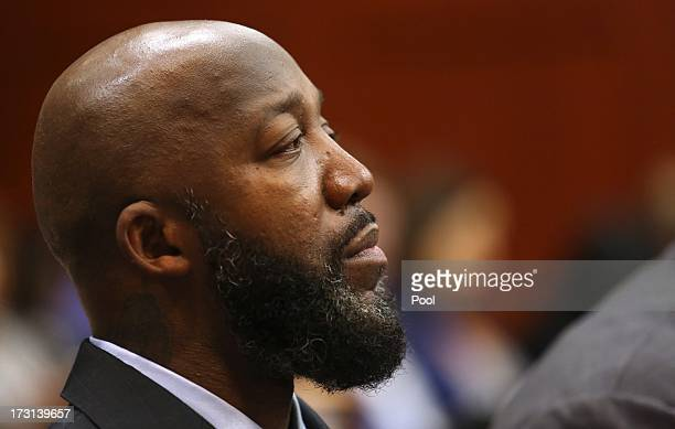 The Father of Trayvon Martin Tracy Martin listens to Sanford police officer Chris Serino testify on the 20th day of the George Zimmerman trial in...