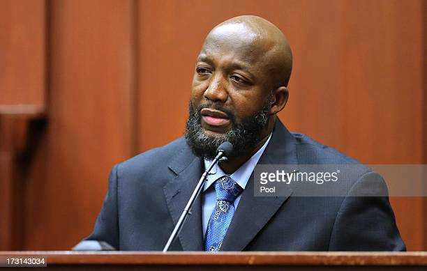 The Father of Trayvon Martin Tracy Martin testifies as a defense witness in George Zimmerman trial in Seminole circuit court July 8 2013 in Sanford...