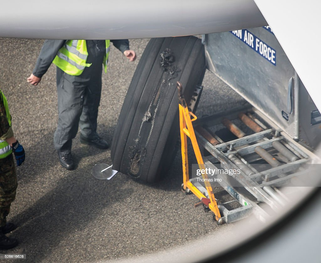 The faulty tyre of the plane of French-German delegation on May 01, 2016 in Berlin, Germany. The Plane German Foreign Minister Frank-Walter Steinmeier and the French Foreign Minister Marc Ayrault aborted take-off on their way to Mali and Niger.