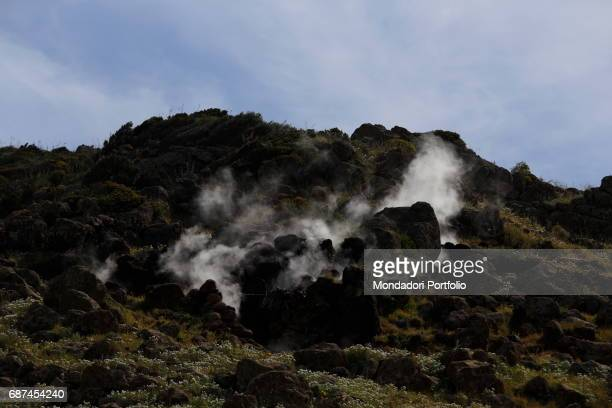 The Favare releasing intermittent jets of steam from the cracks of the rocks Island of Pantelleria May 2015