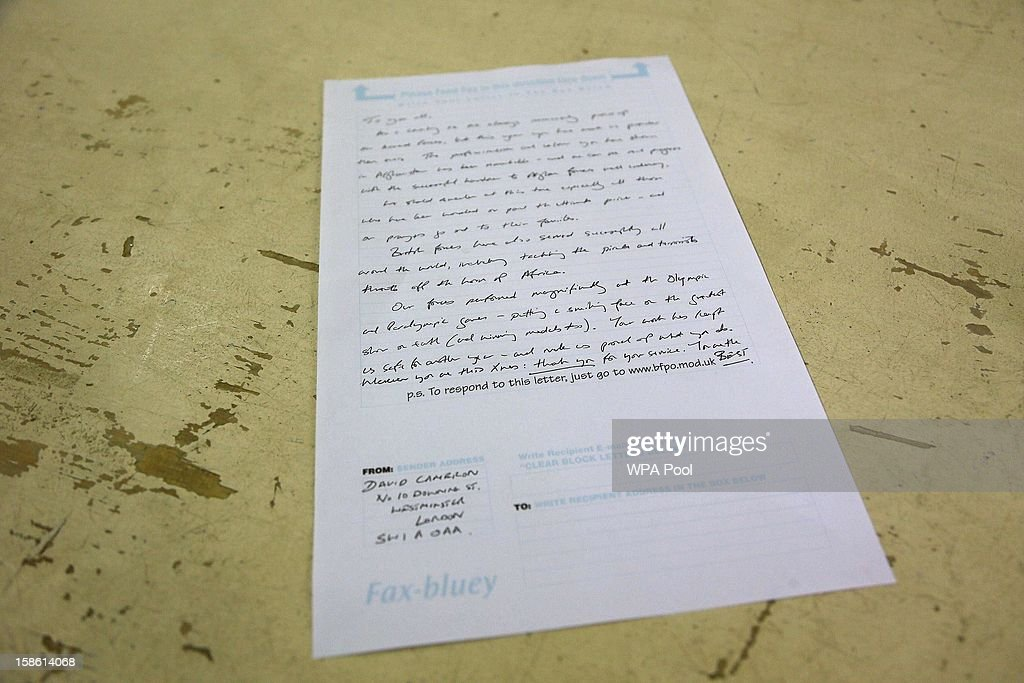 The 'Fax Bluey' message to all of the bases in Afghanistan, written by Britain's Prime Minister David Cameron, is displayed in the post office at Camp Bastion, outside Lashkar Gah on December 20, 2012 in Helmand Province, Afghanistan. Prime Minister Cameron is making a Christmas visit to British troops in the region amid tight security.