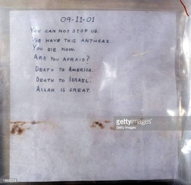The FBI released this photograph October 23 2001 of the letter that was sent to Senate Majority Leader Tom Daschle which contained anthrax The...