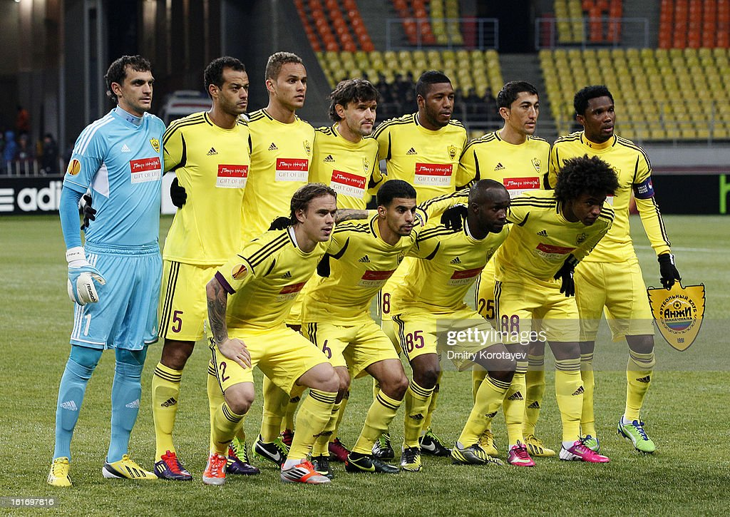 The FC Anji Makhachkala squad line up ahead of the UEFA Europa League Round of 32 first leg match between FC Anji Makhachkala and Hannover 96 at the Luzhniki Stadium on February 14, 2013 in Moscow, Russia.