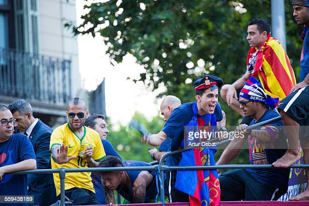 The FC Barcelona football team on the parade celebration between the Barcelona streets celebrating the UEFA Champions League achieved on the Berlin...