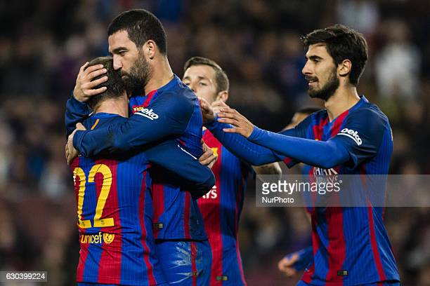 The FC Barcelona player Arda Turan from Turkey celebrating his goal with other players during the Spanish Copa del Rey round of 32 second leg match...