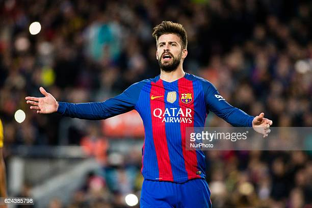 The FC Barcelona player Gerard Pique from Spain protesting a penaltie to the referee during the La Liga match between FC Barcelona vs Malaga CF at...