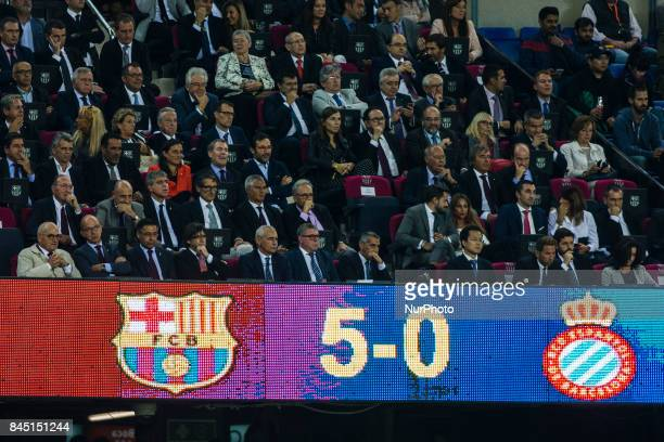 The FC Barcelona president Josep Maria Bartomeu and the Catalan president Carles Puigdemont during the La Liga match between FC Barcelona v RCD...